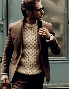 Similar pattern interior, low contrast of brown, very thick knitted fabrics for interior and clean blazer/coats for the exterior. I'd wear with dark brown/corduroy pants and some wingtip oxfords