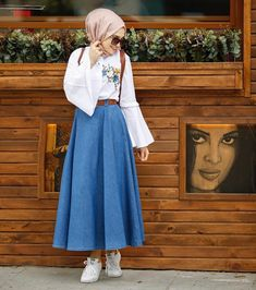 Esra Keküllüoğlu / designer / ( Nayırrrrr Nolamazzz Gentleness of the ancients – Skirt and blouse - Outfit Center Modest Dresses, Modest Outfits, Skirt Outfits, Trendy Outfits, Casual Hijab Outfit, Hijab Chic, Hijab Dress, Muslim Fashion, Modest Fashion