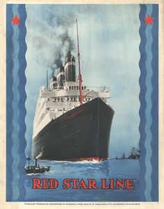 Red Star  Lines 1930s Usa Cruises Ships Drawing  - Red Star  Lines 1930s Usa Cruises Ships Fine Art Print