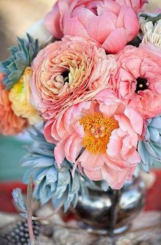beautiful peony and succulent centerpiece, (credit: Ashleigh Taylor Photography)....this combo is my ultimate bouquet :)