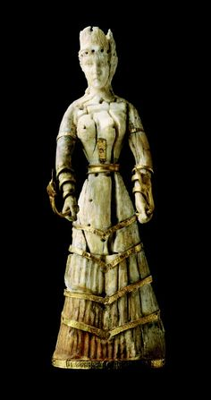 Statuette dating from the late Minoan I  1600-1500 BC, thought to be from Crete, ivory and gold.  MFA Boston