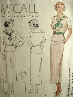 The middy top in non-nautical colors from the 1930s, or how to enjoy a scarf. McCall8206