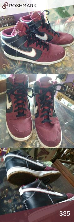 Men's Nike Sneakers Men's Nike high top mid leather canvas sneakers in  excellent used condition.  Sneakers are in a white and cranberry color.  Offers are welcome!😍 Nike Shoes