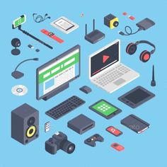 Vector Set Of Isometric Computer Devices Icons. - Computers Technology