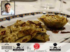 """El Chef Miguel García presenta en el Club Gastronómico de Tres Cantos las alcachofas de Caprichos del Paladar a través del plato """" Flor De Alcachofa con lágrimas de jamón tostado""""¿ tiene buena pinta, eh?"""