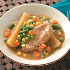 Country Pork Chop Supper - This is my favorite recipe and so easy to make. The meat is so tender it falls apart.  No need for a knife!  Throw it in the crockpot and eat it later!