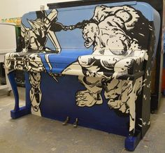 Graffitied Art Case piano | Barnaby festival 2013 | Shackleford Pianos and Marburae Art Gallery l www.shacklefordpianos.squarespace.com