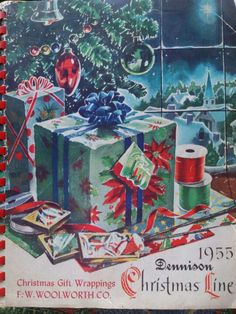 Vintage Woolworth Christmas wrapping paper booklet. I love this cover on this booklet!