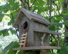 Weathered Cedar Barn Style Birdhouse by SwampwoodCreations on Etsy Wooden Bird Houses, Decorative Bird Houses, Bird Houses Diy, Bird House Plans, Bird House Kits, Birdhouse Designs, Old Fences, Cedar Fence, Reclaimed Barn Wood