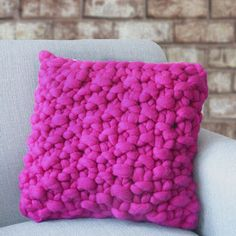 Chunky Hand Knit Cushion by Lauren Aston Designs, the perfect gift for Explore more unique gifts in our curated marketplace. Knitted Cushions, Striped Cushions, Colourful Cushions, Pink Cushion Covers, Cushion Pads, Pink Throws, Pink Throw Pillows, Custom Cushions, Decorative Cushions