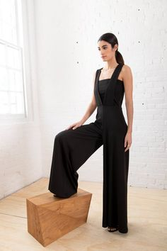 48cb5f01875d NEW Square-Neck Jumpsuit / Cocktail Pantsuit / Evening Romper / Stylish  Romper / Black Designer Playsuit / Marcellamoda - MP1245