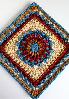 [Free Pattern] This Exceptional Floral Dimension Afghan Square Offers Lots Of Scope For Playing With Color