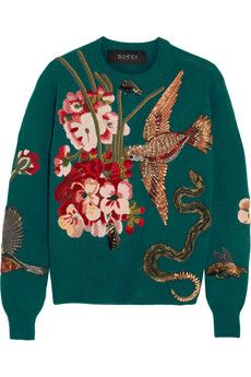 Gucci Embroidered wool sweater | NET-A-PORTER
