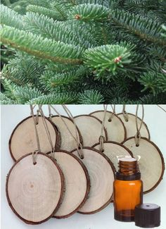 diy homemade diffuser ornaments made with essential oils– How cute are these? Set of 10 wood slice tags (each is inch diameter). Perfect for a gift tag or ornament. Add a few drops of white fir or douglas fir… Continue Reading → Homemade Diffuser, Diffuser Diy, Diffuser Blends, Diffuser Jewelry, Diffuser Necklace, Essential Oil Uses, Doterra Essential Oils, White Fir Essential Oil, Diy Essential Oil Diffuser