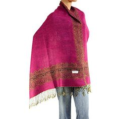 Womens Woven Double Side Pashmina Shawl Wrap Scarf 80 X 27 Fuchsia >>> You can get more details by clicking on the image.  This link participates in Amazon Service LLC Associates Program, a program designed to let participant earn advertising fees by advertising and linking to Amazon.com.