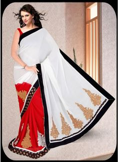 Attractive Red & White Georgette #Saree With Gold Zari Work