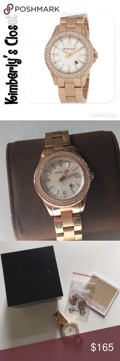 ✨MICHAEL KORS✨ watch % AUTHENTIC MICHAEL KORS WATCH.  Beautiful rose gold color, crystal-embellished timepiece. 120 clear stones around a white Mother-Of-Pearl dial with stainless steel case and band is classic Michael Kors band.  Only worn a few times - some minor scuffs on band from general wear.  Origins box, care booklet, price tag, and links that were removed are included. Michael Kors Accessories Watches