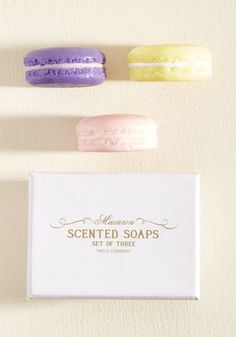 What sweeter surprise could there be for guests in your abode than finding this novelty soap set on your sink? Crafted into a pink, yellow, and purple macaron-shaped trio - with a sweet scent and adorable appearance that make these desserts dead-ringers - this soap is a welcome discovery for those delighted by the little things in life!