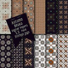 Dark Colors Digital Scrapbooking Papers | Beautiful Patterns Printable Collage Sheets | Digital Backgrounds | Instant Digital Download Art