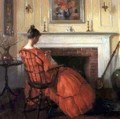 Sewing by the Fireplace ~  Marguerite Stuber Pearson ~ (American 1898-1978)