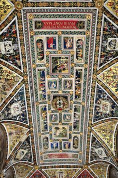 The ceiling of the Piccolomini Library in Siena Cathedral. Italy