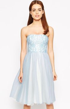 Petite Bandeau Midi Prom Dress With Tulle Skirt- Findress.com