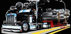 Pencil Art For Beginners, Truck Art, Big Trucks, Rigs, Trailers, Hoods, Cartoon, Abstract, American