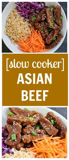 Slow Cooker Asian Beef is tender, flavorful, and an easy alternative to a Chinese takeout version. Add your favorite veggies and whole grains for a one-pot meal! Best Slow Cooker, Slow Cooker Recipes, Crockpot Recipes, Cooking Recipes, Crockpot Dishes, Beef Dishes, Healthy Beef Recipes, Asian Recipes, Asian Foods