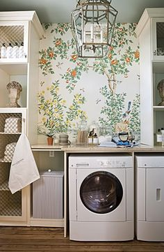 draza stamanich laundry room--chinoiserie wallpaper, painted ceiling, cabinetry, lantern