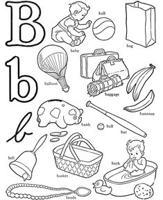 ABC Alphabet Words Coloring Activity Sheet | Letter B - Baby