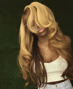 Shop our online store for Brown hair wigs for women.Brown Wig Lace Frontal Hair Blond Wig With Bangs From Our Wigs Shops,Buy The Wig Now With Big Discount. Greyish Blonde Hair, Blond Ombre, Blonde Wig, Ombre Hair, Ash Blonde, Frontal Hairstyles, Wig Hairstyles, Blonde Weave Hairstyles, Hairstyles 2018