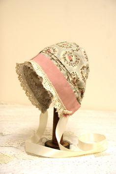 Reversible baby bonnet-- Vintage inspired