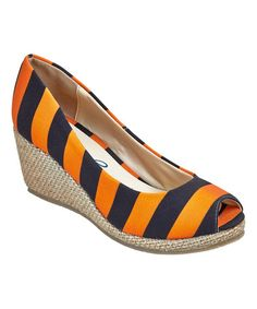 Another great find on #zulily! Bright Orange & Black Stripe Wedge #zulilyfinds