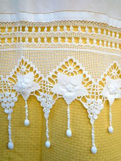 Handmade crochet curtain with lace-Flowers design with tassels-Cottage chic-Mediterranean Handmade crochet curtain with atrante and lace by Patterns for Crochet CurtainsShop Handmade Traditional Embroidery Online available at Naxos Art - Filet Crochet, Crochet Lace Edging, Crochet Borders, Thread Crochet, Irish Crochet, Crochet Doilies, Crochet Stitches, Crochet Curtain Pattern, Crochet Curtains