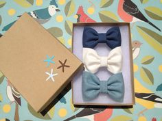 Textured blue and winter white Seaside Sparrow hair bow lot for fall.  Brandy and Melville inspired. on Etsy, $11.00