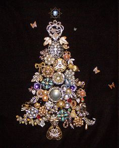 Vintage Christmas Tree Art Made from Vintage Jewelry Wall Art Framed Sparkly! Jeweled Christmas Trees, Christmas Tree Art, Christmas Jewelry, White Christmas, Vintage Christmas, Christmas Crafts, Beautiful Christmas, Christmas Ideas, Christmas Decorations