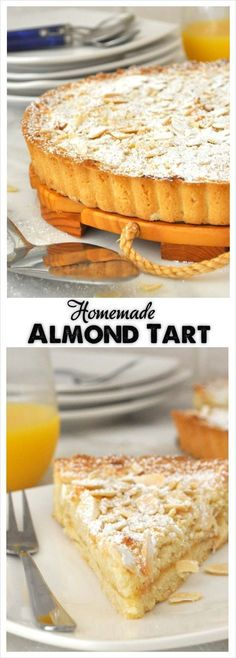 Here is how to make a delicious almond tart from scratch with a moist and soft almond filling over a buttery crust and a little spread of apricot preserve for extra flavor (desserts to make crusts) Desserts Français, Delicious Desserts, Dessert Recipes, Plated Desserts, Almond Tart Recipe, Almond Recipes, Almond Meal, Sweet Pie, Sweet Tarts
