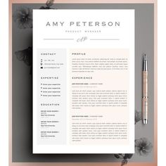 Creative Resume Template, CV Template, Instant Download, Editable in MS Word and Pages Cover Letter. found on Polyvore
