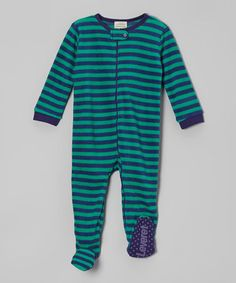 Take a look at this Blue & Green Stripe Fleece Footie - Infant, Toddler & Kids by Leveret on #zulily today!
