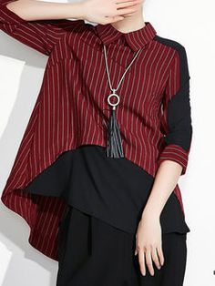 Chiffon Paneled Stripe Blouse I ABSOLUTELY LOVE IT. THIS TOTALLY ROCKS!! THE IDEAL OF FASHION (FOR ME :)