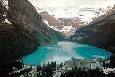 Lake Louise, Banff National Park in Alberta, Canada. The aqua color is like nothing I'd ever seen. Lake Louise Banff, Fairmont Chateau Lake Louise, Fairmont Hotel, Grand Hotel, Oh The Places You'll Go, Great Places, Places To Travel, Beautiful Places, Places To Visit