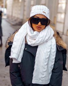 Luxusný dámsky set čiapka a šál biely Winter, Fashion, Moda, Fasion, Trendy Fashion, La Mode