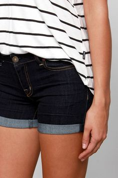 She and Denim Dark Wash Jean Shorts