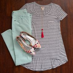 mint pants, stripes, floral flats, and tassels! What a cute spring pairing! If you haven't already, check out StitchFix!: stitchfix.com/referral/8638574