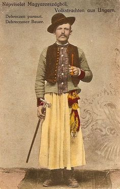 Folk dress of Debrecen Hungary Folk Costume, Costumes, Austrian Empire, Man Skirt, Hungarian Embroidery, Wild Style, My Heritage, Vintage Photographs, Old Pictures
