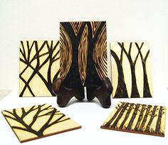 """Woodburned Trees ACEOs - OOAK Set Of 5 Wood Cards - For Artist Trading Card Collectors. Woodburned Tree ACEO's. Set of 5 wood cards! This is a OOAK (one of a kind) set of collectible ACEO's on wood. Each one is different from the others. (Birds and stand are NOT included!) I WILL make similar sets, but each set is freehand burned, so they are not exactly alike, yet they are all based on my original designs, shown here. ACEO is the term for """"Art Cards Editions and Originals"""". They are…"""