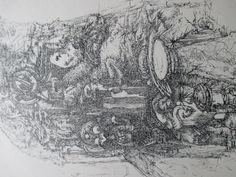 een transfertekening wordt blind gemaakt: een wit vel met zwarte inkt op de achterkant, bovenop een ander wit vel en dan met een spijker oid aan het werk, ik vind het knap Picasso, Vintage World Maps