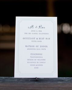 This ceremony servie is outlined on a simple card with a decorative border.