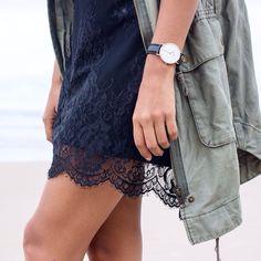 khaki and black lace