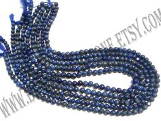 Lapis Lazuli Smooth Round (Quality C) (5Strands) / 4 to 5.50 mm / 13 to 15 Grms / 36 cm / LA-093 by GemstoneWholesaler on Etsy